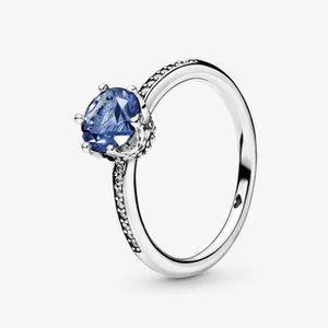 Pandora Blue Sparkling Crown Solitaire Ring